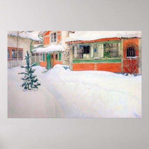 Cabaña de Carl Larsson en la impresión de la bella Poster
