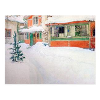 Cabaña de Carl Larsson en navidad del día de Tarjeta Postal