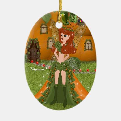 Cabaña de hadas de la calabaza del otoño adorno navideño ovalado de cerámica