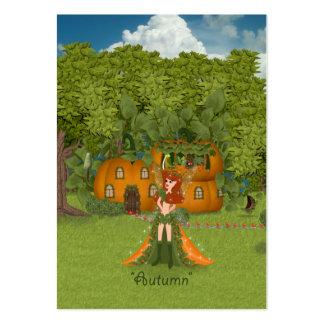 Cabaña de hadas de la calabaza del otoño tarjetas de visita grandes