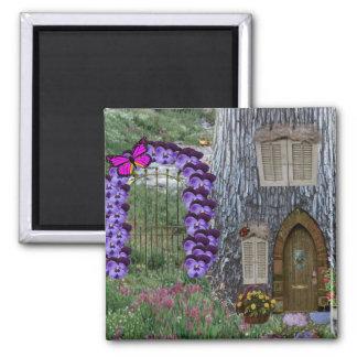 Cabaña de la hada de la puerta de jardín imán cuadrado