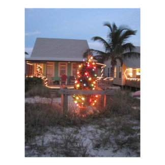 Cabaña de la playa del navidad membretes personalizados