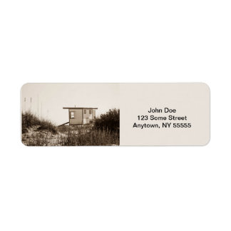 Cabaña de la playa en sepia etiqueta de remite