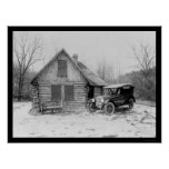 Cabaña de madera 1920 de Oldsmobile Posters