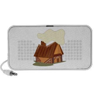 Cabaña de madera iPod altavoz