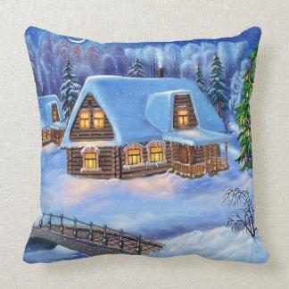 Cabaña de madera del navidad en invierno cojines