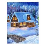 Cabaña de madera del navidad en invierno tarjeta postal