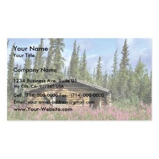 Cabaña de madera del pueblo del barranco tarjetas de visita