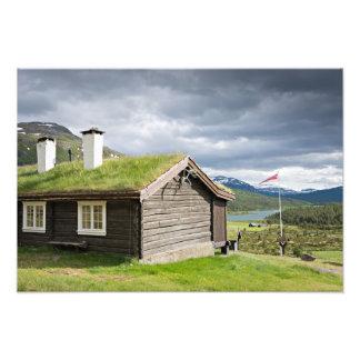 Cabaña de madera del tejado del césped en Noruega Cojinete