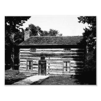 Cabaña de madera en blanco y negro cojinete