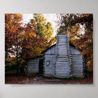 Cabaña de madera en otoño impresiones