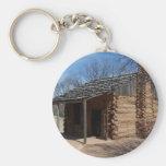 Cabaña de madera llavero personalizado