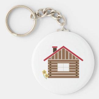 Cabaña de madera llavero redondo tipo pin