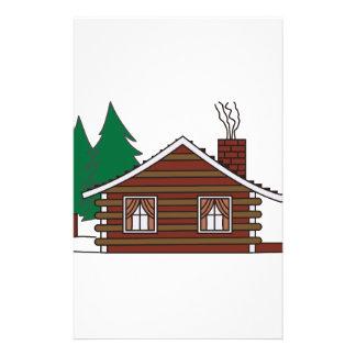 Cabaña de madera papelería personalizada