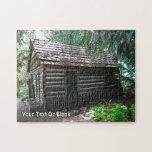 Cabaña de madera rompecabeza con fotos