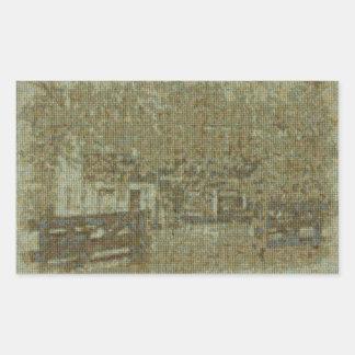 Cabaña de madera vieja en Waterford, VA Pegatina Rectangular