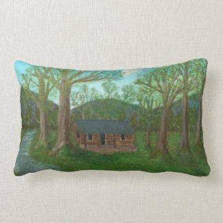 Cabaña de madera y árboles almohada
