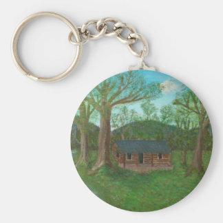 Cabaña de madera y árboles llavero