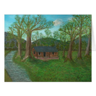 Cabaña de madera y árboles tarjeta de felicitación grande