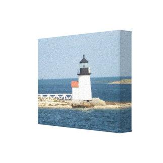 Cabaña de Nantucket del faro del punto de Barnacla Impresión En Lienzo