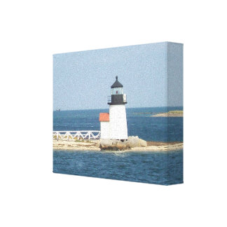 Cabaña de Nantucket del faro del punto de Barnacla Impresiones En Lona