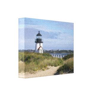 Cabaña de Nantucket del faro del punto de Barnacla Impresion En Lona