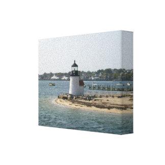Cabaña de Nantucket del faro del punto de Barnacla Impresiones De Lienzo