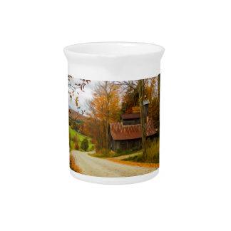 Cabaña del azúcar de arce en la caída de Vermont Jarras De Beber
