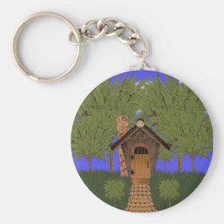 Cabaña del Birdhouse de la fantasía con llavero de