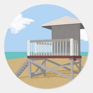 Cabaña del guardia de vida etiquetas redondas