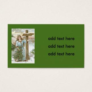 Cabaña del invierno de la cruz del árbol de tarjeta de negocios