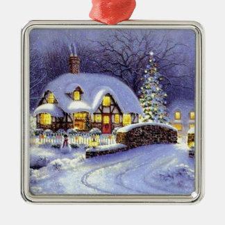 Cabaña del navidad adorno navideño cuadrado de metal