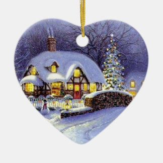 Cabaña del navidad adorno navideño de cerámica en forma de corazón