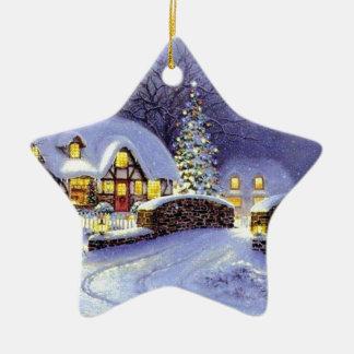 Cabaña del navidad adorno navideño de cerámica en forma de estrella