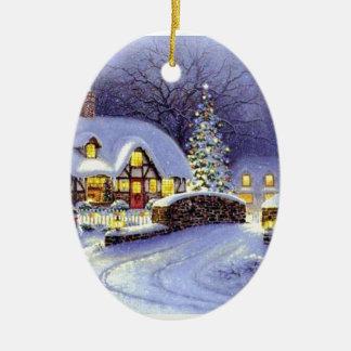 Cabaña del navidad adorno navideño ovalado de cerámica