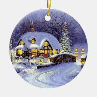 Cabaña del navidad adorno navideño redondo de cerámica