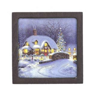 Cabaña del navidad cajas de recuerdo de calidad