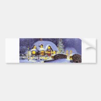 Cabaña del navidad etiqueta de parachoque