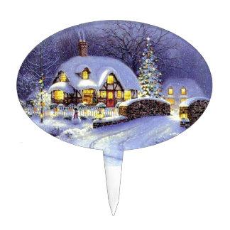 Cabaña del navidad decoraciones para tartas