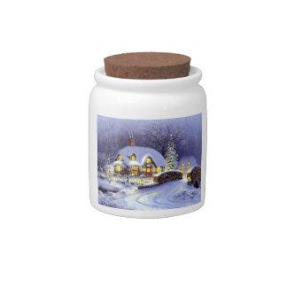 Cabaña del navidad jarra para caramelo