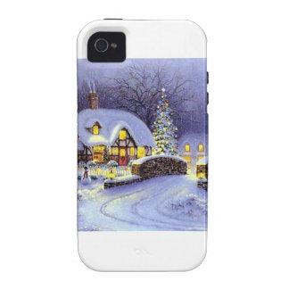 Cabaña del navidad Case-Mate iPhone 4 fundas