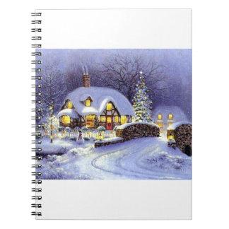 Cabaña del navidad libros de apuntes con espiral