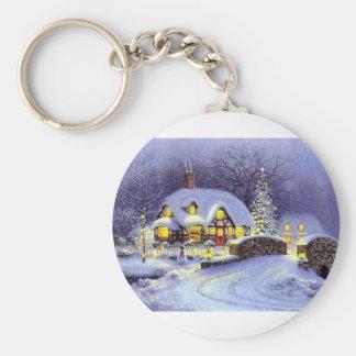 Cabaña del navidad llavero personalizado