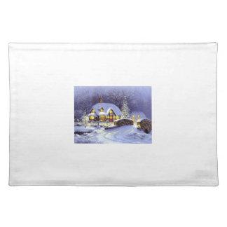 Cabaña del navidad manteles