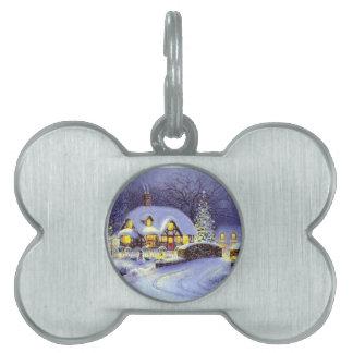 Cabaña del navidad placa mascota
