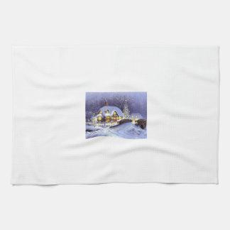 Cabaña del navidad toallas de cocina