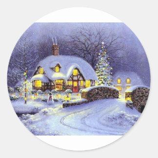 Cabaña del navidad pegatina redonda