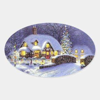 Cabaña del navidad pegatina de oval personalizadas