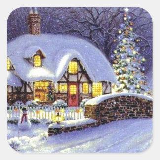 Cabaña del navidad pegatina cuadrada