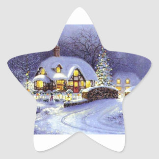Cabaña del navidad pegatina en forma de estrella